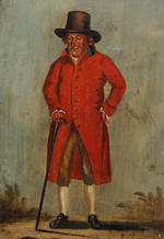 Henry William Bunbury (British, 1750-1811) Gloucester characters 'Crackey Mason', match seller, 'Crackey Mason's Wife', 'Dumplin Dick' a notorious pickpocket and 'Warren Glun'(?), fish seller, who displayed his wares in his coffin