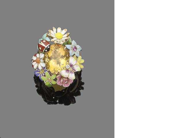 A 'Milly-la-Forêt' citrine, diamond and gem-set dress ring, by Dior