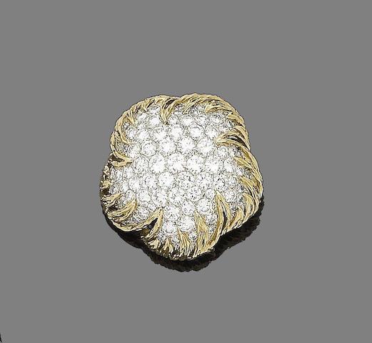 A diamond-set flower brooch, by Van Cleef & Arpels