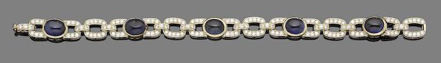 A sapphire and diamond bracelet, by Van Cleef & Arpels,