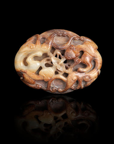 A russet jade 'chi dragon' plaque  Qing dynasty