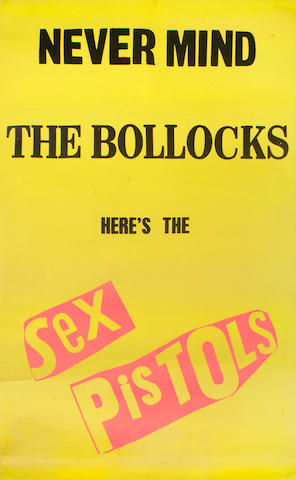 The Sex Pistols: A large promotional poster for the album 'Never Mind The Bollocks Here's The Sex Pistols',