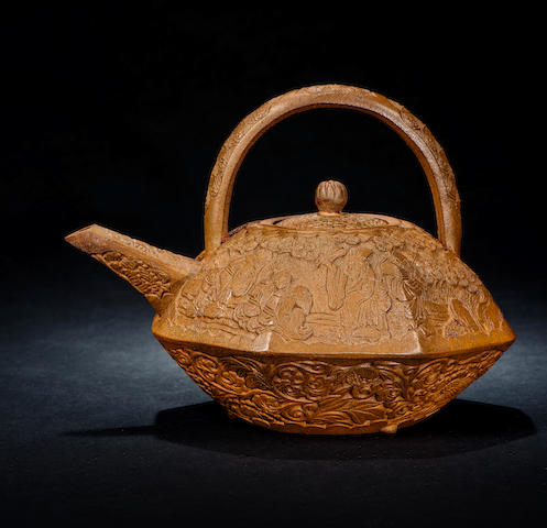 A stoneware 'scholar's greeting' octagonal teapot and cover Qing dynasty