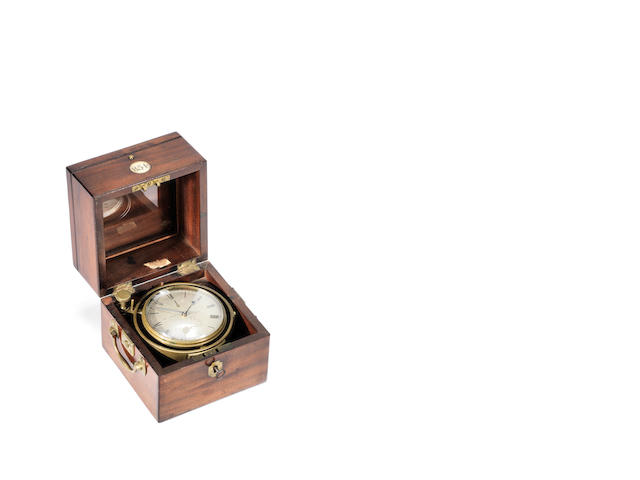 A second quarter of the 19th century mahogany two day marine chronometer Arnold & Dent, number 854