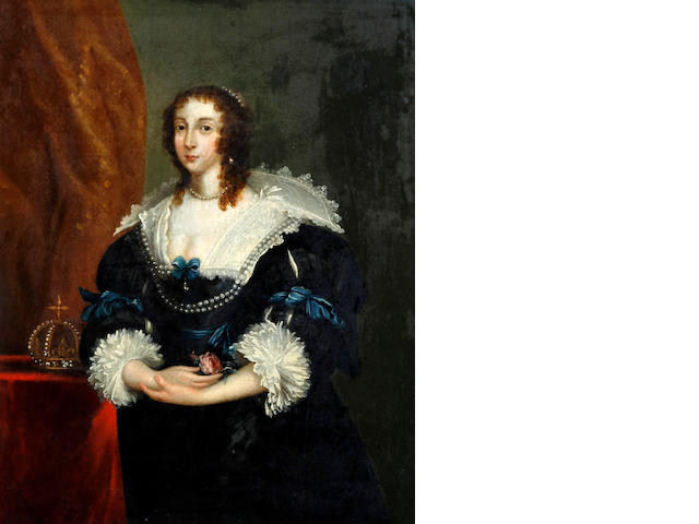 After Sir Anthony van Dyck Queen Henrietta Maria, standing, three quarter length