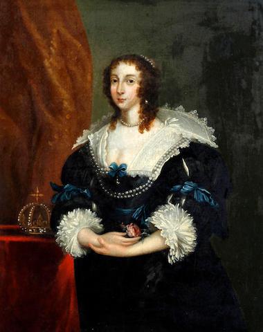 After Sir Anthony van Dyck Queen Henrietta Maria, standing, three quarter length