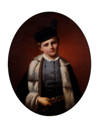 Circle of William Powell Frith, RA (British, 1819-1909) A portrait of a young boy wearing fur collar blue jacket, and black hat, oval