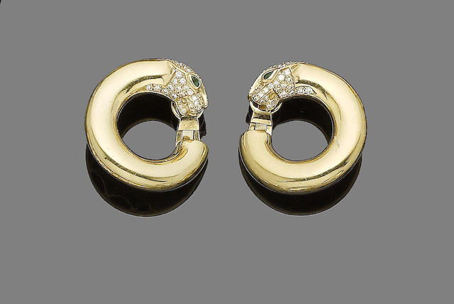 A pair of diamond and gem-set panther earrings, by Cartier