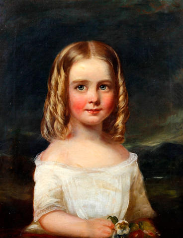 Circle of Margaret Sarah Carpenter (British, 1793-1872) A portrait of a young girl in a white dress