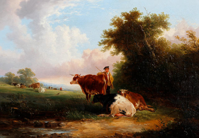 Joseph Horlor (British, 1809-1887) 'Cattle Evening'