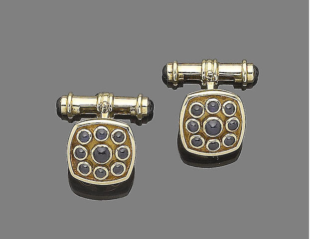 A pair of gold and sapphire cufflinks,