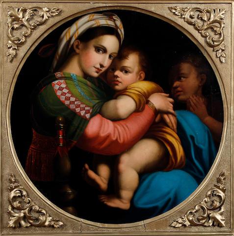 L. Dumini, (active Italy, 19th Century), after Raphael Madonna della Sedia 51cm diam.