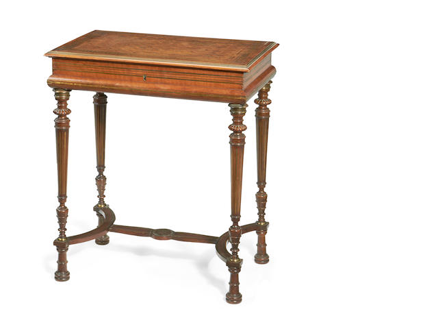 A French 19th century brass inlaid mahogany dressing tablein the Louis XVI style