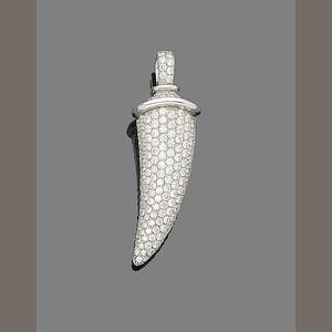A diamond horn pendant, by Theo Fennell,
