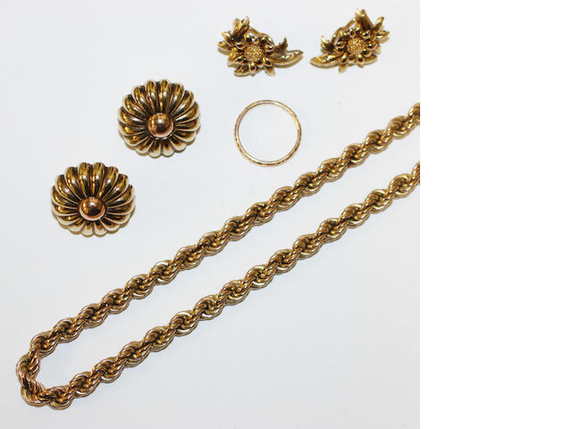 A small collection of yellow precious metal jewellery,