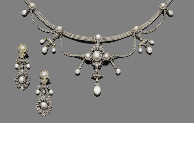 A gold, natural pearl and diamond demi-parure, (3)