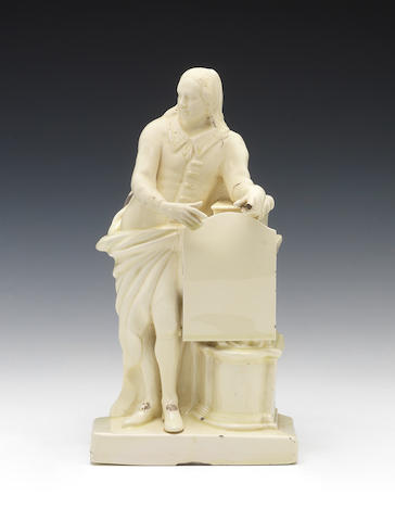 A creamware figure of John Milton, circa 1770