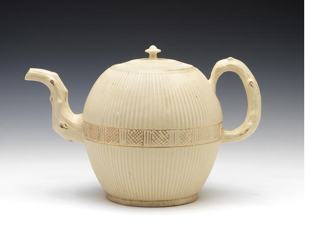 A very large creamware punch pot and cover, circa 1765