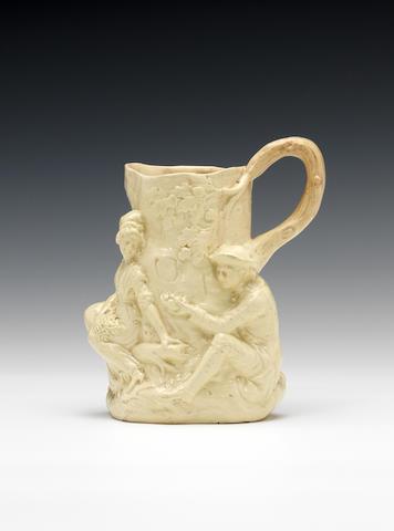 A rare creamware 'Fair Hebe' jug by Jean Voyez, circa 1788