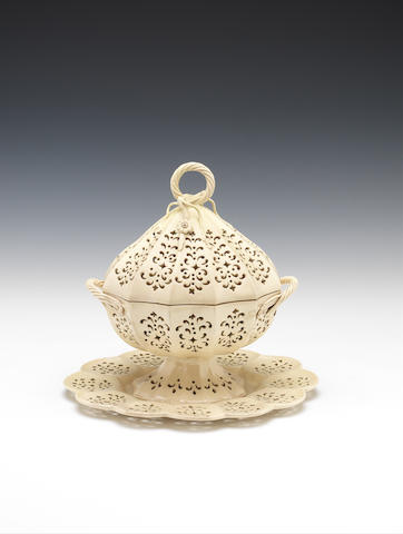 A creamware double-walled dessert tureen, cover and stand, circa 1770-80