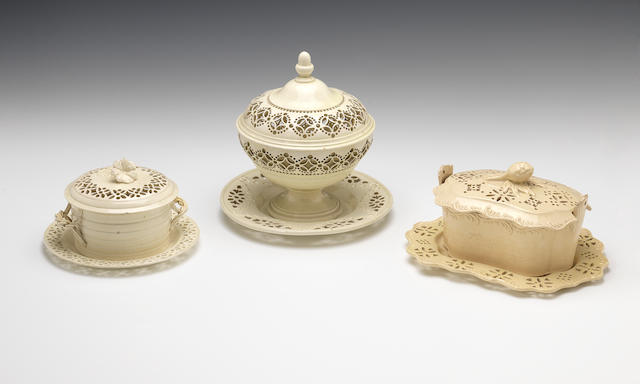 Two creamware buttertubs, covers and stands, a bowl and cover and a stand, circa 1775-85