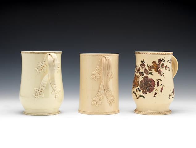 Four plain creamware mugs, circa 1765-80