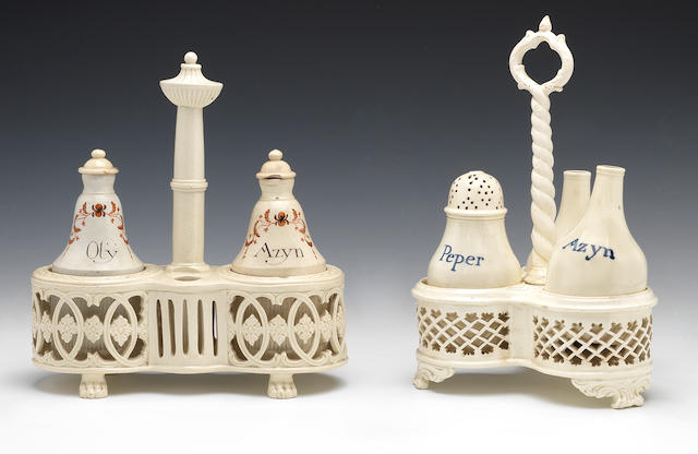 Three creamware cruet stands, circa 1790