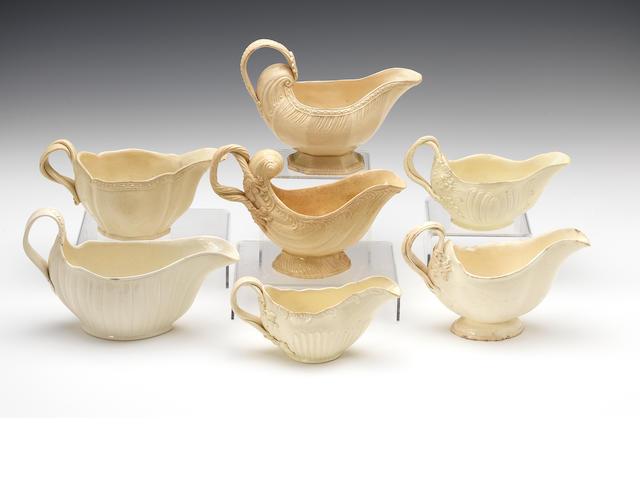 Seven creamware sauceboats, circa 1770-80