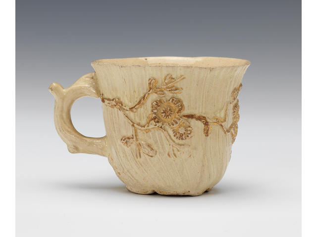 An important early creamware coffee cup, circa 1745-48