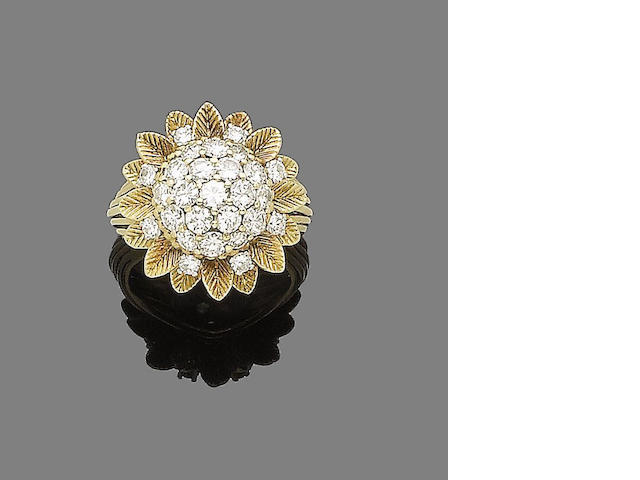 A gold and diamond cluster ring, by Ben Rosenfeld