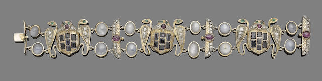 A mid 19th century gem-set archaeological revival bracelet
