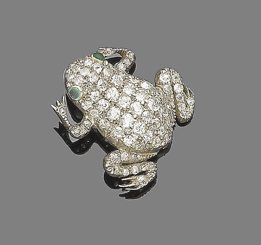 An emerald and diamond frog brooch,