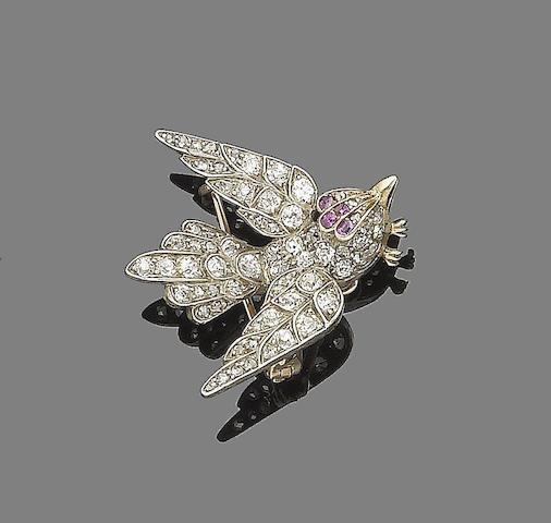 A ruby and diamond bird brooch,