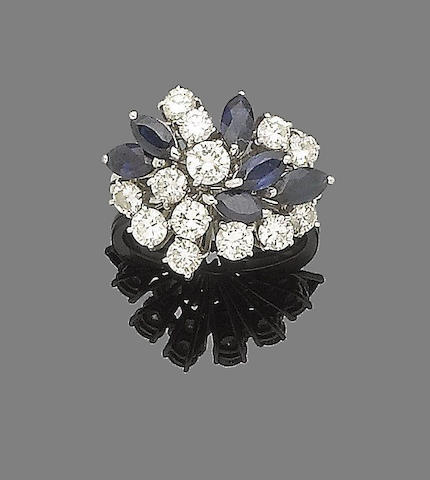 A sapphire and diamond dress ring,