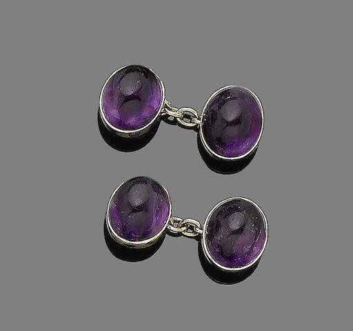 A pair of amethyst cufflinks