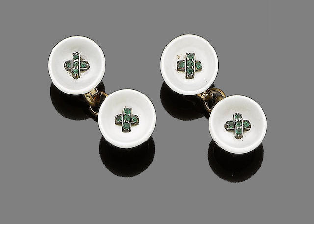 A pair of emerald and mother-of-pearl cufflinks