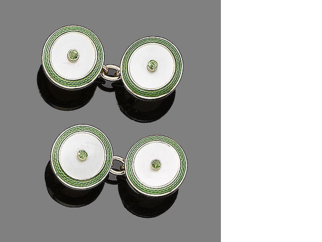 A pair of demantoid garnet, mother-of-pearl and enamel cufflinks