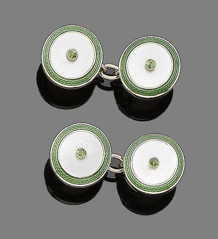 A pair of demantoid garnet, mother-of-pearl and enamel cufflinks