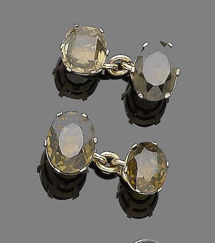 A pair of zircon cufflinks