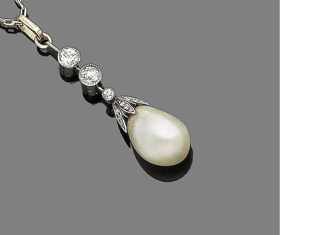 A belle époque natural pearl and diamond pendant necklace,