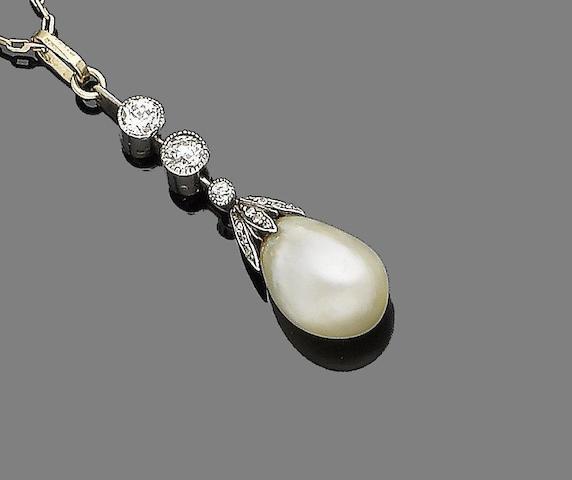 A belle époque natural pearl and diamond pendant necklace,