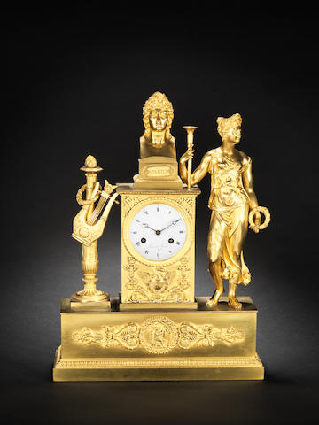 An early 19th century French ormolu mantel clock Prevost Jeune a' Toulouse
