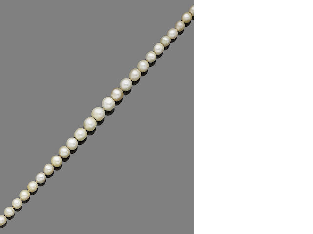 A single-row pearl and diamond necklace