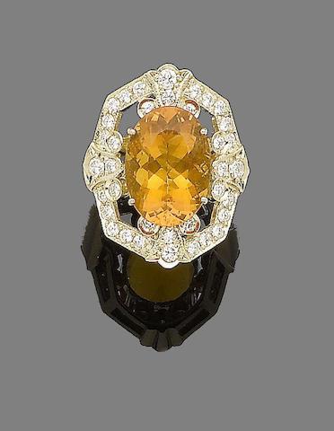 A fire opal and diamond dress ring