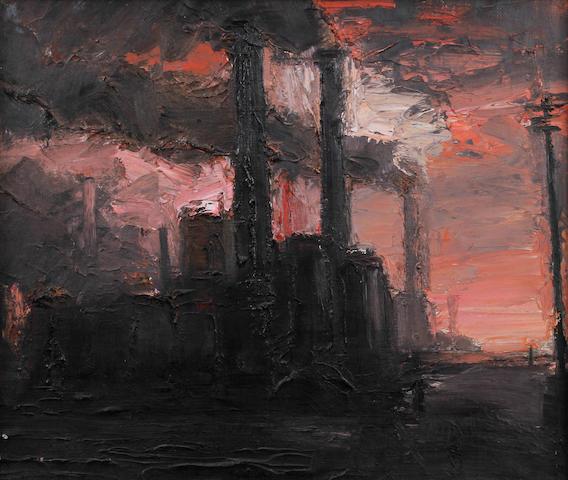 Theodore Major (British, 1908-1999) Chimneys and pink sky
