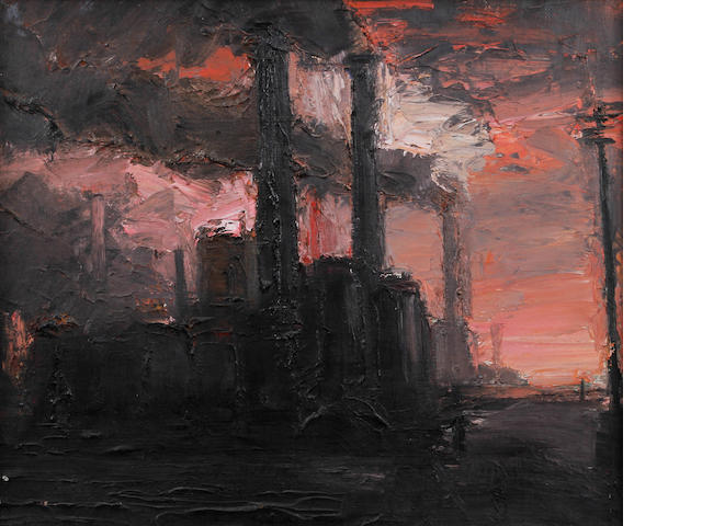 Theodore Major (British, 1908-1999) Chimneys and pink sky