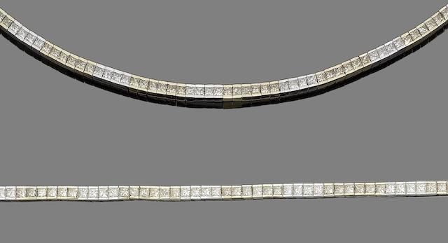 A diamond line necklace and bracelet suite (2)