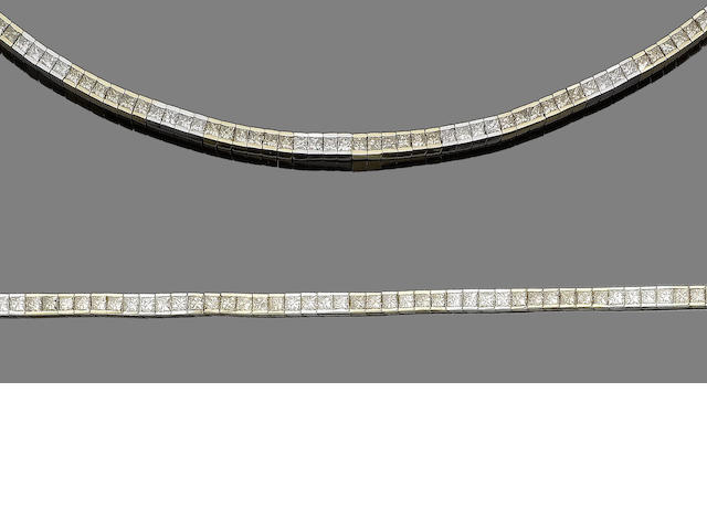 A diamond line necklace and bracelet suite (2)