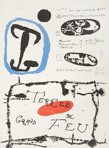 Joan Miró (Spanish, 1893-1983) Terres de Grand Feu Lithograph printed in colours, 1960, signed in pencil, 780 x 585mm (30 3/4 x 23in)(SH)(unframed)