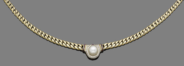 A cultured pearl, ruby and diamond pendant collar necklace, by Bulgari